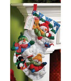 "Bucilla® 18"" Felt Applique Kit-Snow Fun Stocking"