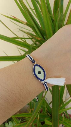 Blue and White Evil Eye Bracelet with tassel Greek Mati Greek flag by ForThatSpecialDay on Etsy