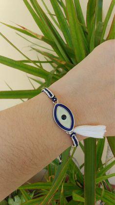 Blue and White Evil Eye Bracelet with tassel Greek Mati Greek flag by ForThatSpecialDay on Etsy