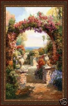 """""""Arch Wall Tapestry Wall Hanging"""" Brick columns support a lovely flowered arch. Walk through to enjoy the courtyard overlooking the sea. The rich browns and terracottas will comliment anyone's decor."""