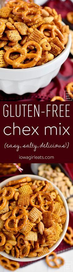 Gluten-Free Chex Mix is salty, crunchy, and totally addicting. Just like the original, only gluten-free - easily made dairy-free, too! | iowagirleats.com: