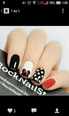 simple minnie mouse manicure Nail Art Disney nails, Nails, Nail Art is part of nails - nails Mickey Nails, Minnie Mouse Nails, Mickey Mouse Nail Art, Love Nails, Fun Nails, Dream Nails, Disney Nail Designs, Manicure And Pedicure, Disney Manicure