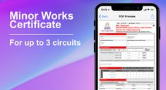 "Save time and paperwork with the new 3 Circuit Minor Works Certificate now included with iCertifi.  With no data connection needed & no ""pay per cert"",  send as many as you like wherever you are! #electrician #electrical"