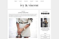 """Wordpress Theme Premade Blog Template Design - """"Ivy & Vincent"""" Instant Digital Download"""