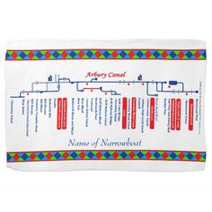 Arbury Canal Route UK Waterways Red Kitchen Towels