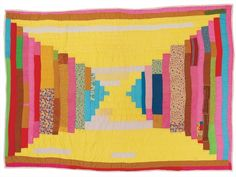 """Deborah Pettway Young - """"Log Cabin""""—single block """"Courthouse Steps"""" variation (local name: """"Bricklayer"""") - 1970s Cotton, cotton/polyester blend, velveteen 72 x 88 inches"""