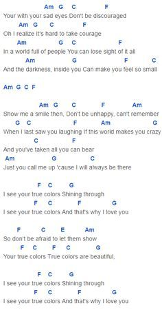True Colors Chords Capo 4 Anna Kendrick, Justin Timberlake, Trolls