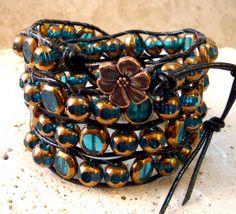 A Little Romance! Vintage Look Aqua & Antique Gold Handmade Leather 4-Wrap Bracelet  $38