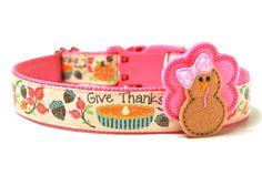 Thanksgiving Dog Collar 1 Fall Dog Collar by Wagologie on Etsy Dog Holidays, Happy Holidays, Turkey Bow, Custom Dog Collars, Custom Bows, Thing 1, Dog Products, Little Bow, Dog Leash