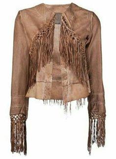 Leather suede fringes jacket