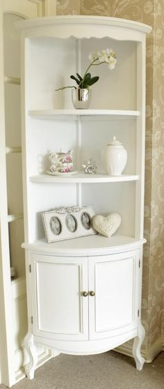 White tall corner shelf unit with cupboard - Melody Maison®