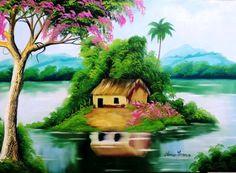 Easy Landscape Paintings, Scenery Paintings, Oil Pastel Paintings, Oil Pastel Drawings, Colorful Drawings, Landscape Art, African Art Paintings, Cottage Art, Galaxy Painting