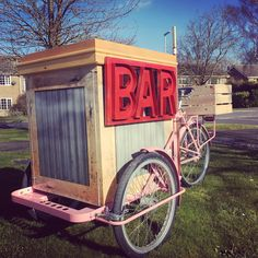 Mobile bar on a bike Cocktails, Pimms, Prosecco, beer, cider, gin etc