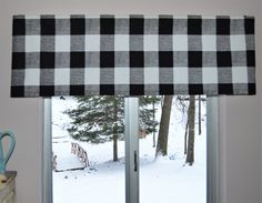 Black and White Buffalo Plaid Valance . Premier Prints Black and White Check . 15W x 52L . Custom Sizes by Request . by SeamsOriginal by SeamsOriginal on Etsy