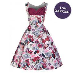 Swing Ophelia lange jurk met vlinder print paars/wit - Vintage, 50's, Rockabilly, retro