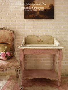 French Shabby countryside table, Romantic vanity, PINK - Furniture for a dollhouse in 1:12 th scale