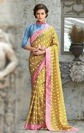 Picture of Angelic Mustered Printed Saree with Blouse