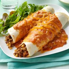 Cheddar Beef Enchiladas Recipe from Taste of Home