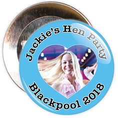 A customisable hen night badge on a blue background with heart shaped photo. Thesehen party badges are customised with a photo, the name of the hen and a location.