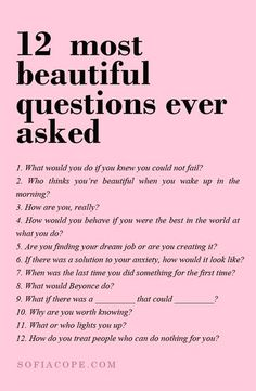 The are the 12 most beautiful questions ever asked... #SelfHelp #PositiveQuotes #Motivation
