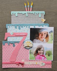 Birthday Cake Tutorial by Sophie Crespy Sophie Crespy is going to share with us how to make this birthday cake layout from start to finish! BIRTHDAY CAKE LAYOUT by Sophie Crespy Supplies: My Girl, Beautiful Bella paper - My Girl, Adorable Abby Paper -. Birthday Scrapbook Layouts, Scrapbook Bebe, Scrapbook Designs, Scrapbook Sketches, Scrapbook Page Layouts, Scrapbook Paper Crafts, Scrapbook Cards, Scrapbook Templates, Scrapbook Ideas Baby