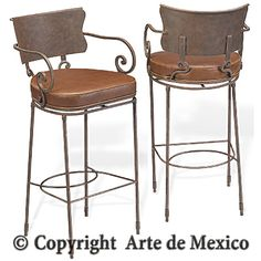 mexican wrought iron leather bar stool | SB-032-3 Wrought Iron barstool page