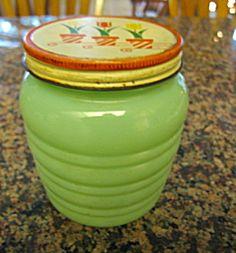 Vintage Depression Glass Jadite Jar. Click on the image for more information.