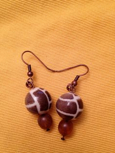 Brown Giraffe Print Bead Handmade Earrings by CurlyCarmenandTim, $10.00