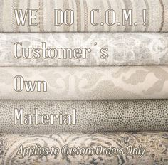 ANY FABRIC, ANY DESIGN! Custom Window Treatment (Draperies, Shades, Top Treatments) Plus Bedding, Pillows, and More! If you can't find a fabric on our website - order from anywhere and ship to our workroom! * COMBINE READY-MADE AND CUSTOM TO SAVE $$$ *Certain exclusions may apply - contact us for details. Call us at 877-717-1170 or email us at customerservice@bestwindowtreatments.com to get your project started today. NFPA 701 Commercial | Hospitality Interior Designer…