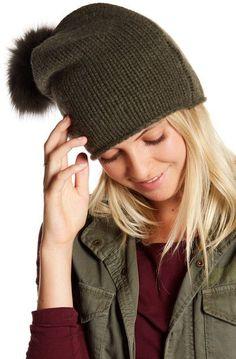 SKULL CASHMERE Toni Cashmere & Genuine Dyed Fox Fur Pompom Beanie