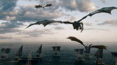 """Daenerys' armada & dragons leave for Westeros. (6x10 """"The Winds of Winter"""")"""