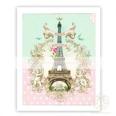 Paris Eiffel Tower, a vintage style art print with a stunning gold cherub frame, pink roses, fleur de lis and topped with a gold crown. Bonjour