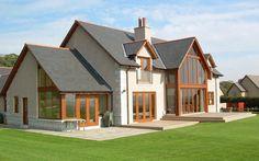 unusual glazed gable end Weatherboard House, Oak Frame House, Self Build Houses, Modern Townhouse, Bungalow Exterior, Courtyard House, Dream House Plans, Modern Farmhouse, Modern Barn