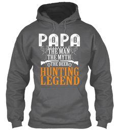 Papa Hunting Hoodies!Limited Edition. Dark Heather Sweatshirt Front