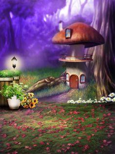Magic Mushroom Forest Photo Studio Background Photography Backdrop