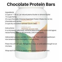 Try this easy Chocolate Protein Bar recipe made from Arbonne's Chocolate protein powder! These bars make great healthy snacks!! #arbonne