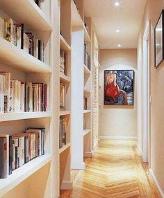 decoracion de pasillos con libros