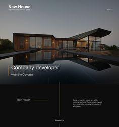 "Website construction company ""New House"" on Behance Architecture Websites, Architecture Company, Web Design Examples, Creative Web Design, Website Design Layout, Layout Design, Web Layout, Adobe Portfolio, Luxury Website"