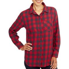 Faded Glory Women's Tunic Flannel Boyfriend Shirt - Walmart.com
