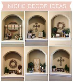 Niche Decor Ideas - The Hamby Home Alcove Decor, Niche Decor, Entryway Decor, Wall Decor, Alcove Ideas, Diy Wall, Office Decor, Plant Ledge Decorating, Foyer Decorating