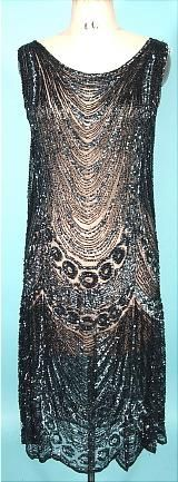 1920s beaded flapper overdress, black bugle beads and sequins on cotton netting.