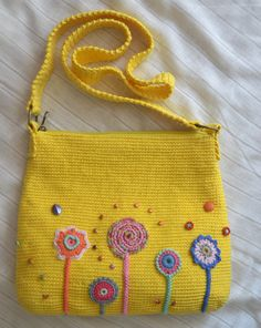 Crochet bag. Shoulder yellow bag with decor. Has an от Veselunka