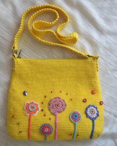 Crochet bag. Shoulder yellow bag with decor. Has an от Veselunka
