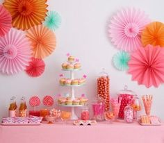 Dessert Table Orange Pink