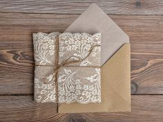 Eco Recycling Lace  Wedding InvitationBurlap  by DecorisWedding, $5.40