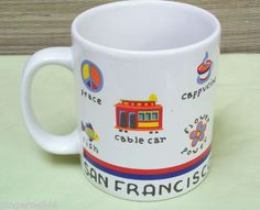 San Francisco California Souvenir Coffee Tea Mug Cup Golden Gate Cable Car free shipping $16.55