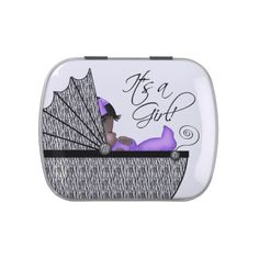 Adorable Purple  Zebra Baby Shower Candy Jelly Belly Tins