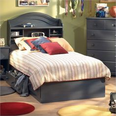 Lowest price online on all South Shore Summer Breeze Twin Captain's Bed Frame Only in Antique Blue Finish - 3294080 Bookcase Headboard, Bookcase Storage, Bed Storage, Storage Drawers, Kids Bedroom Sets, Kids Bedroom Furniture, Deco Furniture, Furniture Stores, Bedroom Dressers