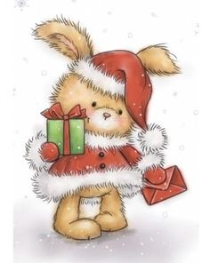 Wild Rose Studio - Christmas Bunny Clear Stamp - The Rubber Buggy Cute Christmas Cards, Christmas Bunny, Christmas Clipart, Christmas Animals, Christmas Printables, Christmas Pictures, Christmas Art, Winter Christmas, Christmas Drawing