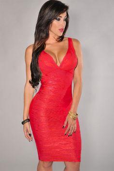 Red V-neck Foil Detail Crisscross Bandage Dress https://www.modeshe.com